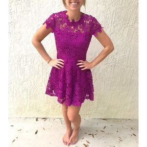 🔴 INA Lace Overlay Fully Lined Flare Skater Dress